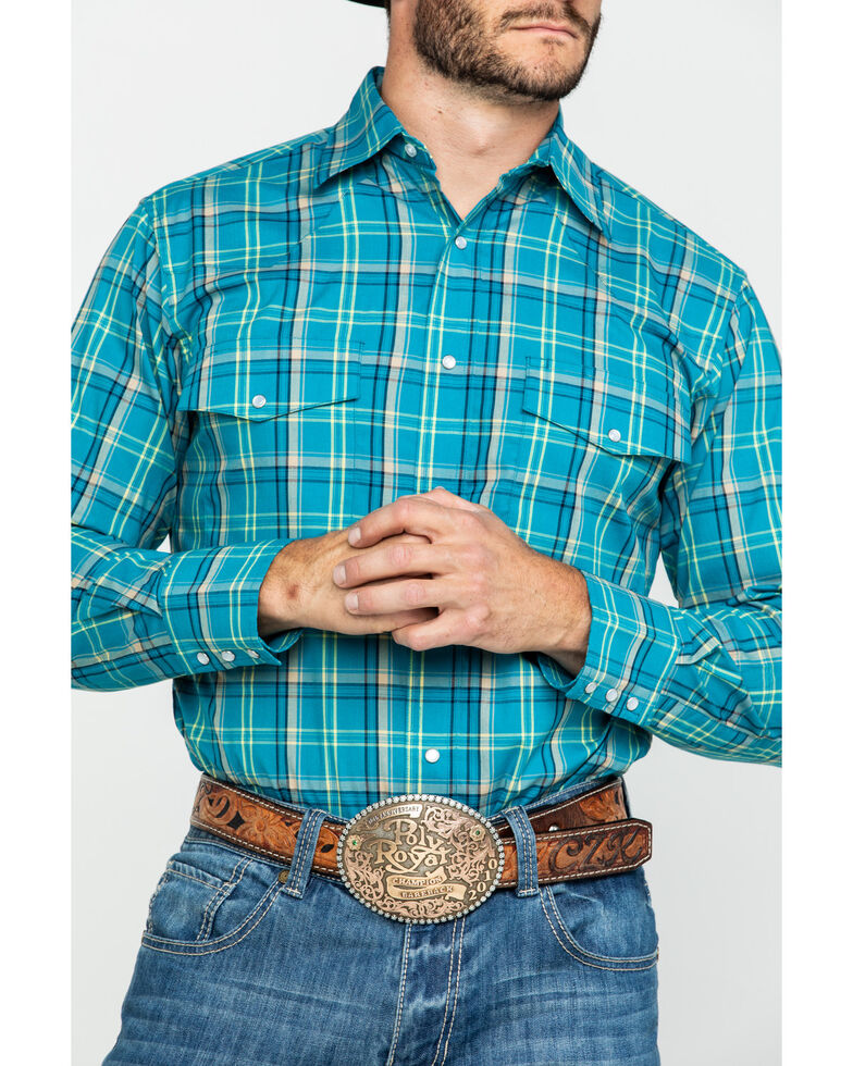 Wrangler Men's Wrinkle Resistant Multi Med Plaid Long Sleeve Western Shirt , Teal, hi-res