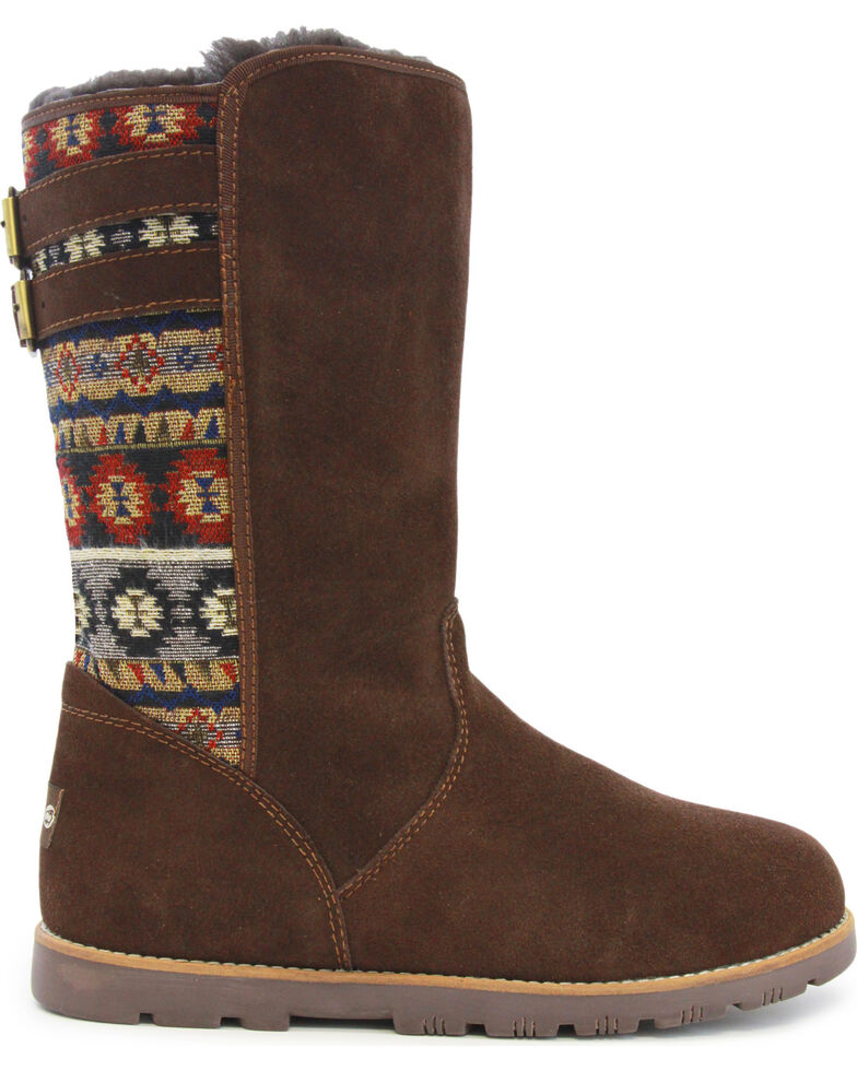 Lamo Women's Melanie Suede Winter Boots - Round Toe, Chocolate, hi-res