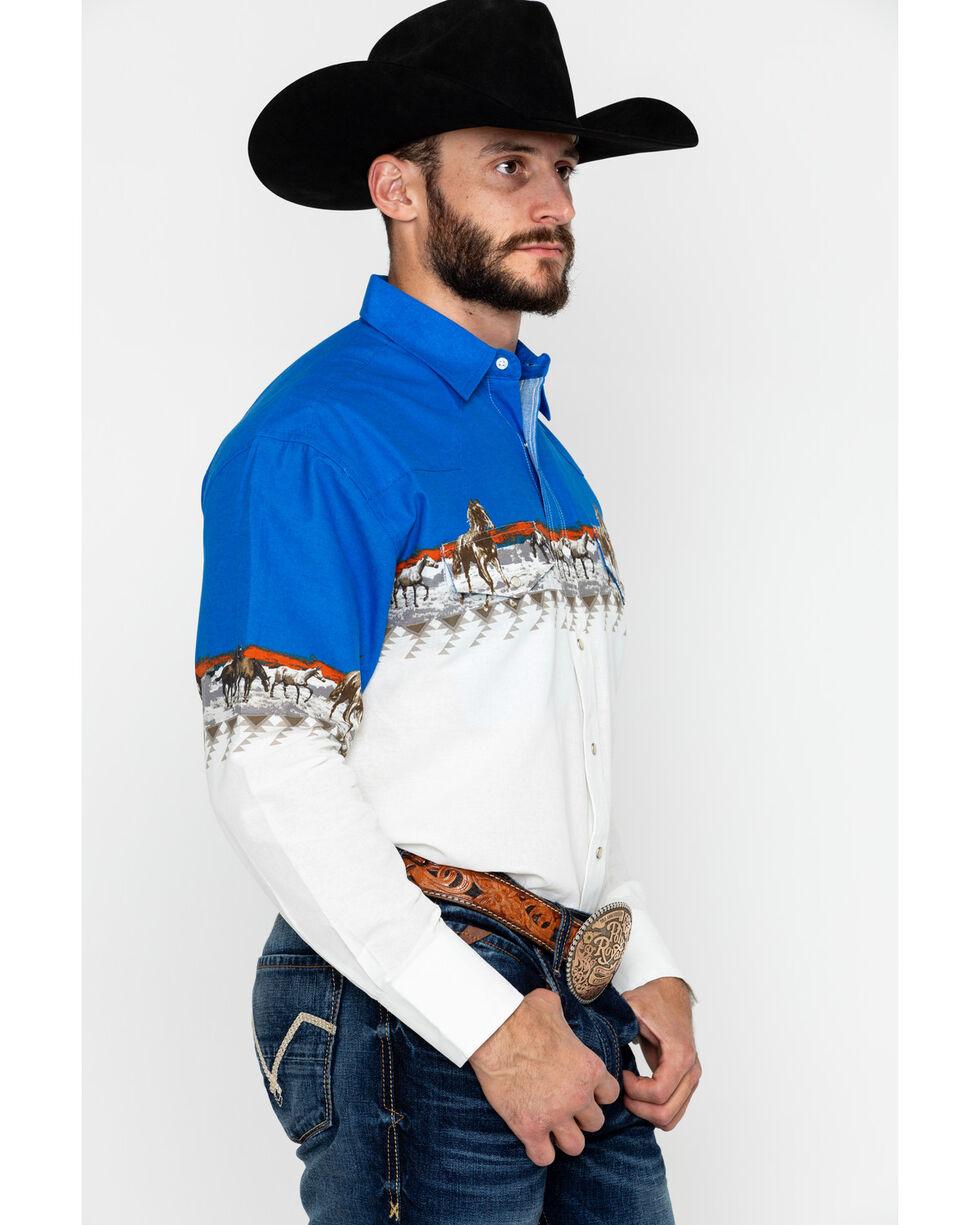 Wrangler Men's Checotah Long Sleeve Western Shirt, Blue/white, hi-res