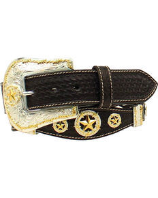 Nocona Men's Basketweave Star Concho Belt , Black, hi-res
