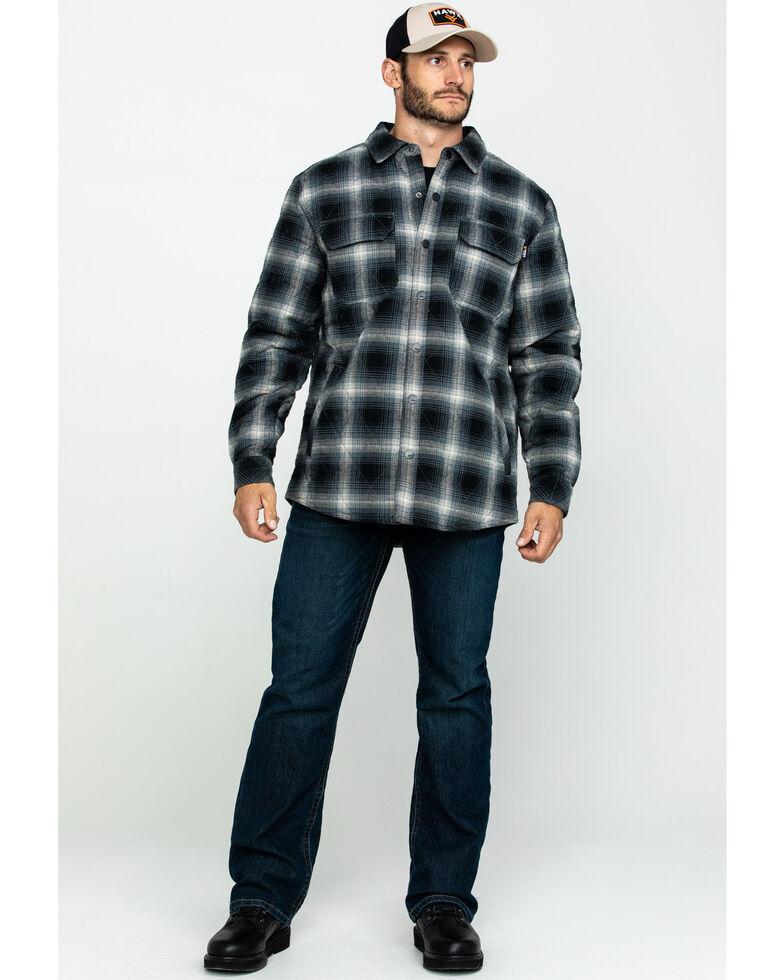 Hawx Men's Black Quilted Plaid Shirt Work Jacket - Tall , Black, hi-res