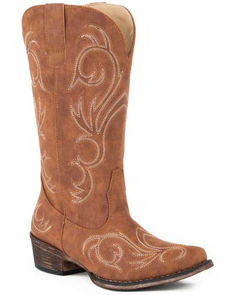 Roper Women's All Over Embroidery Western Boots - Round Toe, Tan, hi-res