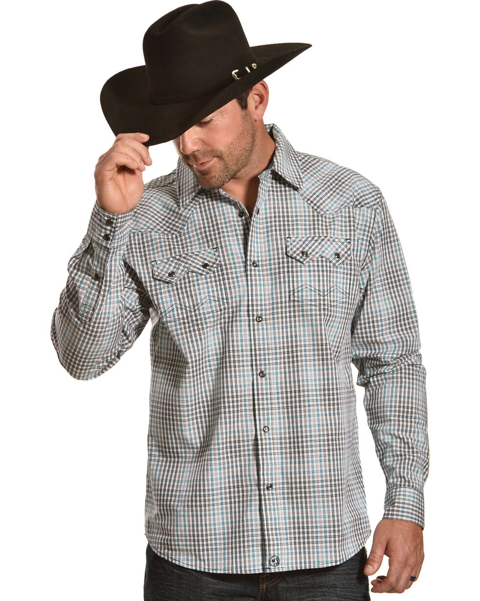 Moonshine Spirit Men's Rincon Creek Plaid Long Sleeve Western Shirt, Turquoise, hi-res