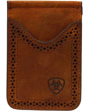 Ariat Leather Money Clip, Brown, hi-res