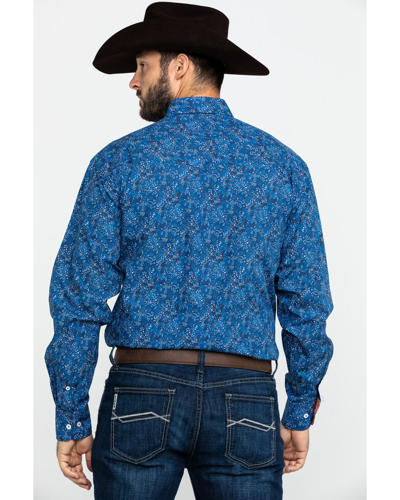 Resistol Men's Goddard Floral Print Long Sleeve Western Shirt , Blue, hi-res