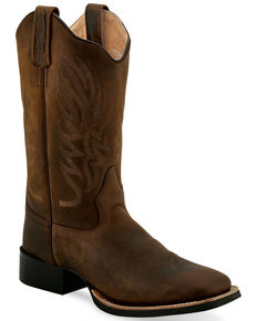 """Old West Women's Brown 11"""" Western Boots - Wide Square Toe, Brown, hi-res"""