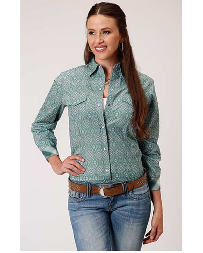 Roper Women's Jade Quarry Medallion Paisley Print Long Sleeve Snap Western Core Shirt - Plus, Teal, hi-res