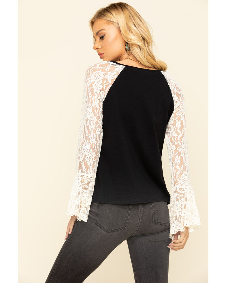 Wrangler Women's Southwest Lace Bell Sleeve Top, Black, hi-res