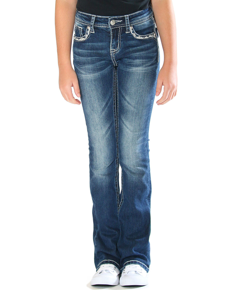 Grace in LA Girls' Cross Pocket Jeans - Boot Cut , Indigo, hi-res