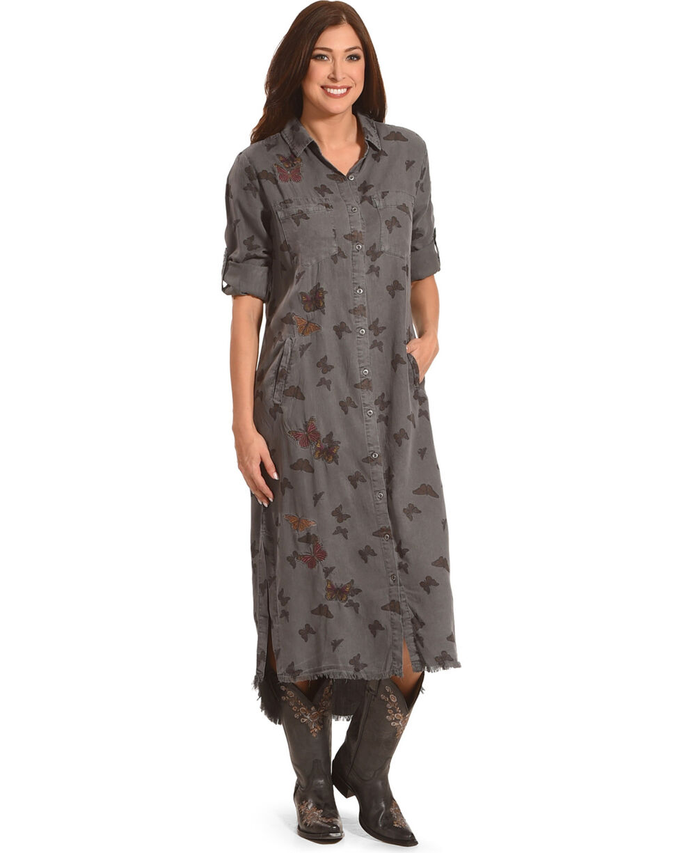 Billy T Women's Rolled Sleeve Butterfly Dress, Grey, hi-res