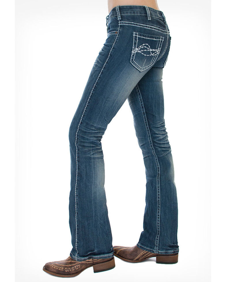 Cowgirl Tuff Women's Edgy Bootcut Jean, Blue, hi-res