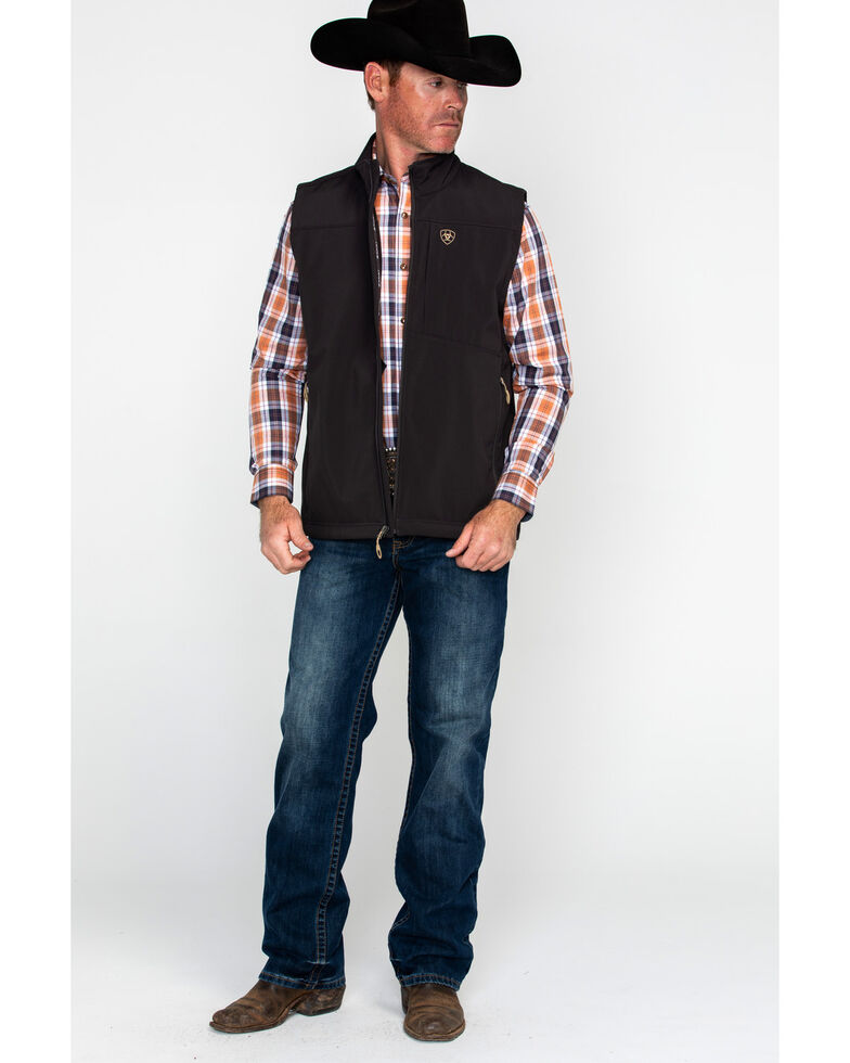 Ariat Men's Vernon Softshell Logo Vest, Brown, hi-res