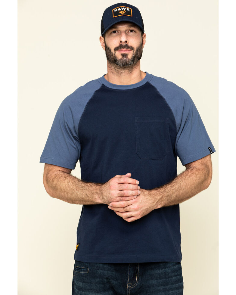 Hawx Men's Navy Midland Short Sleeve Baseball Work T-Shirt , Navy, hi-res