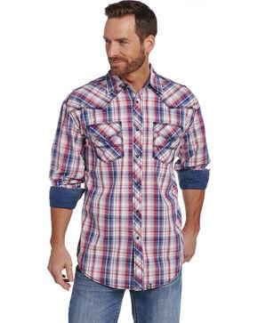 Cowboy Up Men's Red Plaid Long Sleeve Shirt , Red, hi-res