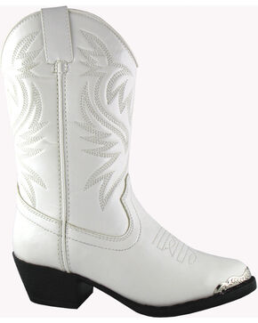Smoky Mountain Toddler Girls' Mesquite Western Boots - Round Toe, White, hi-res