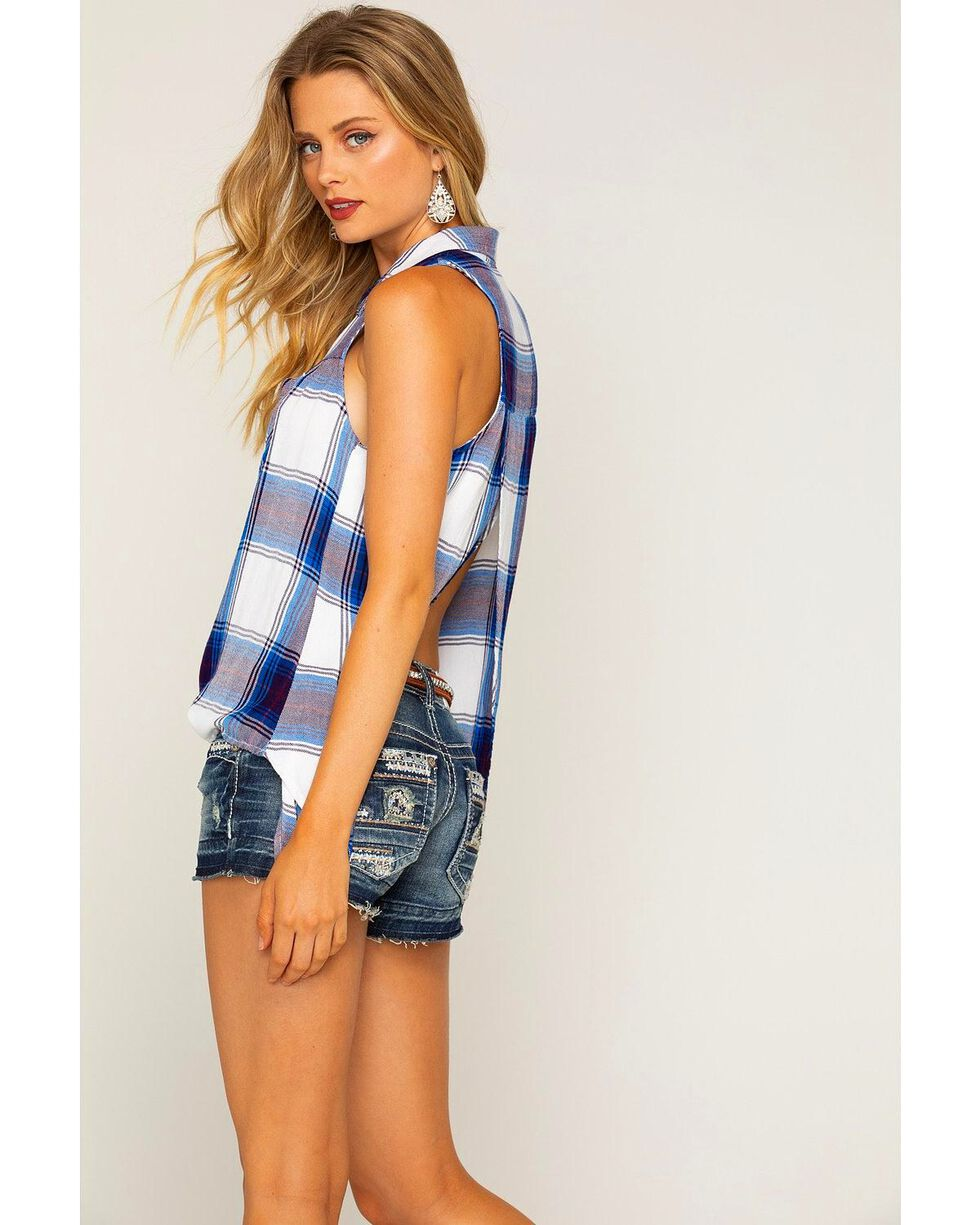 Shyanne Women's Royal Blue Plaid Sleeveless Shirt, , hi-res