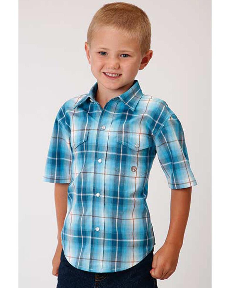 Amarillo Boys' Blue Mesa Plaid Short Sleeve Western Shirt , Turquoise, hi-res