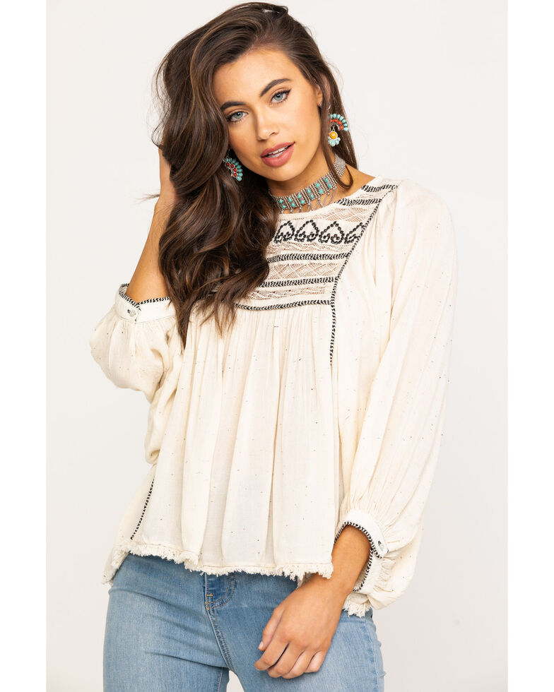 Free People Women's Cyprus Avenue Embroidered Top, Ivory, hi-res