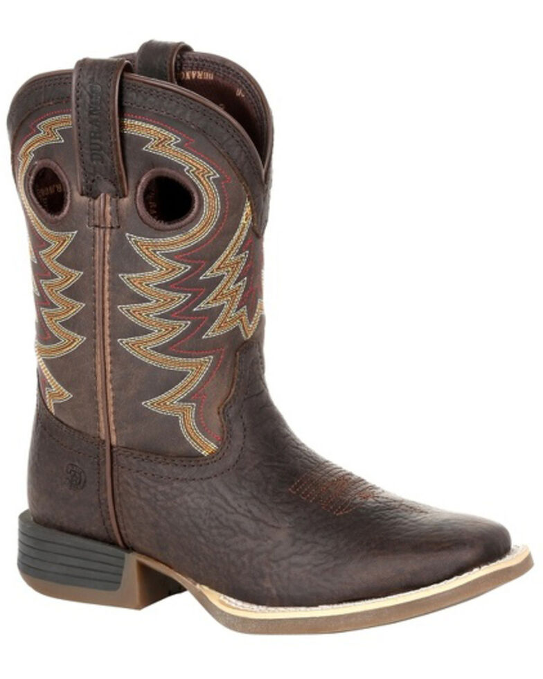 Durango Boys' Lil Rebel Pro Brown Western Boots - Square Toe, Dark Brown, hi-res