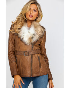 Honey Creek by Scully Women's Faux Fur Trim Jacket , Brown, hi-res