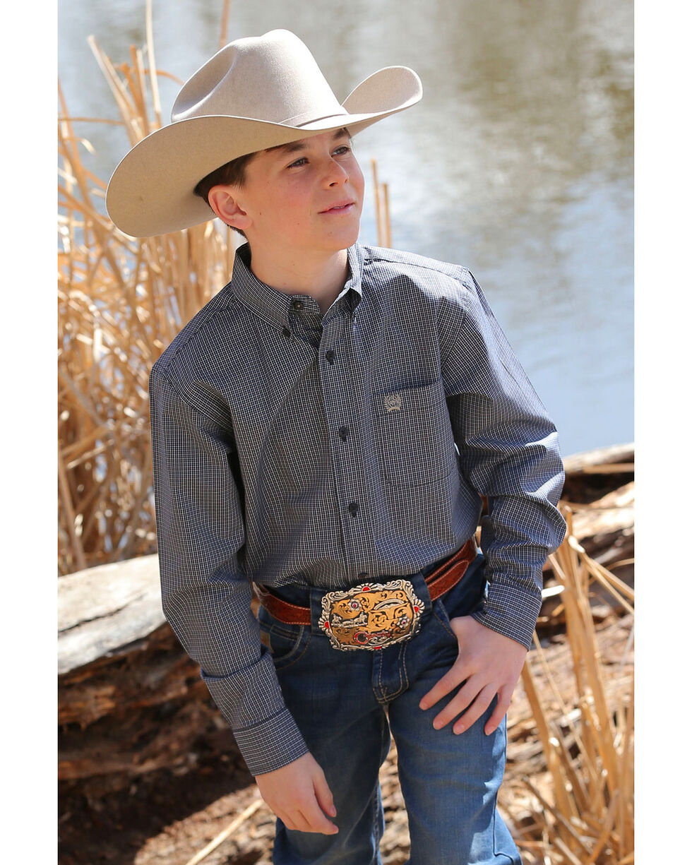Cinch Boys' Small Plaid Long Sleeve Western Shirt , Navy, hi-res