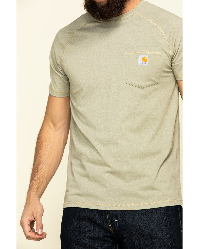 Carhartt Men's Khaki Force Cotton Delmont Short Sleeve Work T-Shirt , Beige/khaki, hi-res