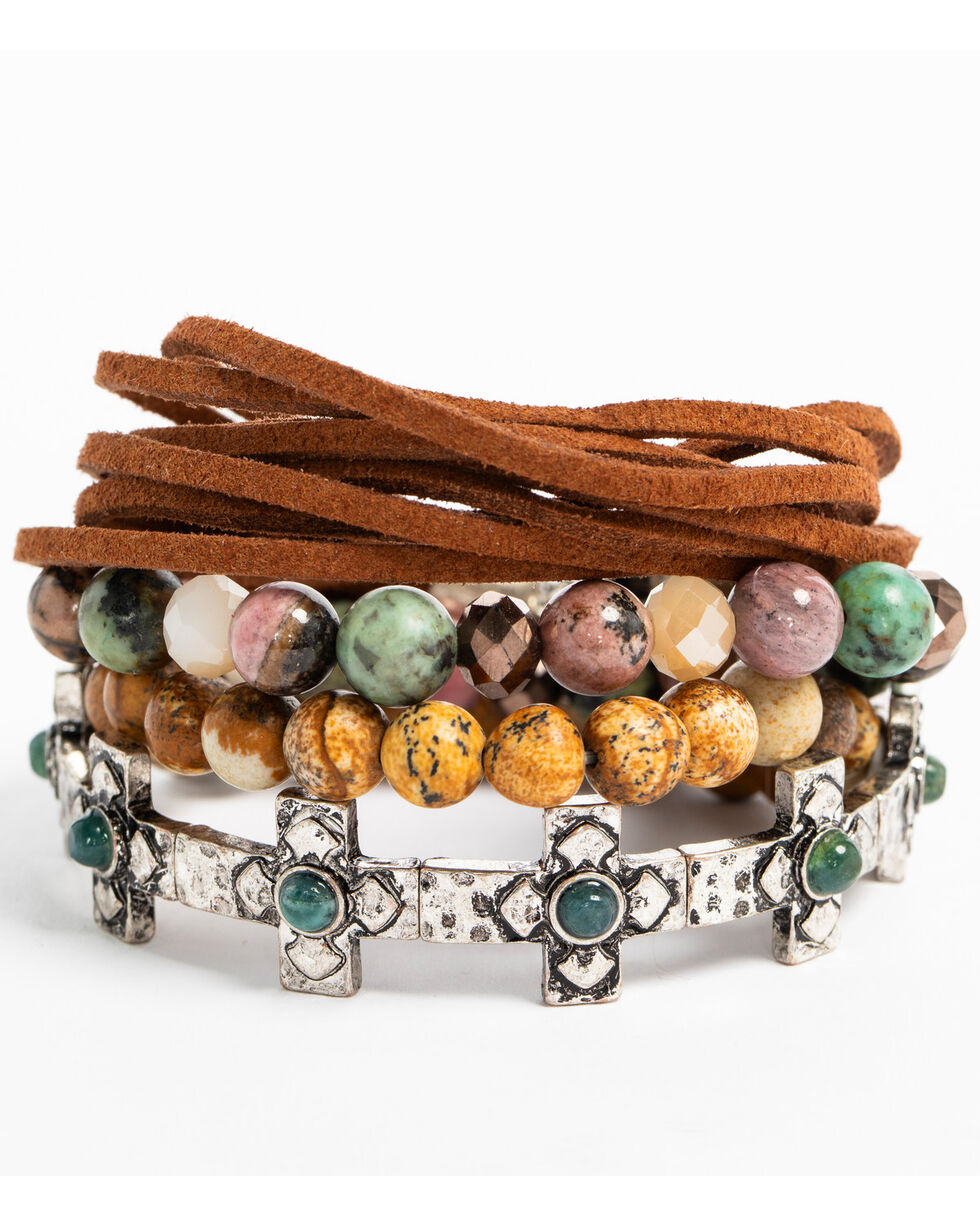 Shyanne Women's Mojave Mix Bead Suede Stretch Bracelet, Silver, hi-res