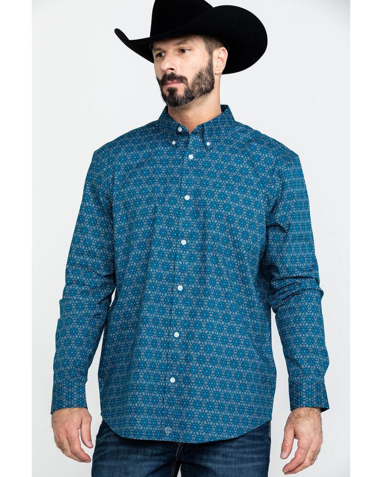 Cody James Core Men's Digital Floral Geo Print Long Sleeve Western Shirt , Royal Blue, hi-res