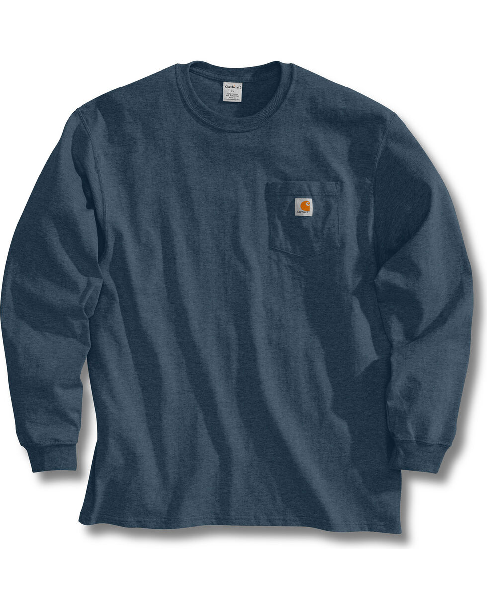 Carhartt Men's Long Sleeve Work T-Shirt, Blue Stone, hi-res