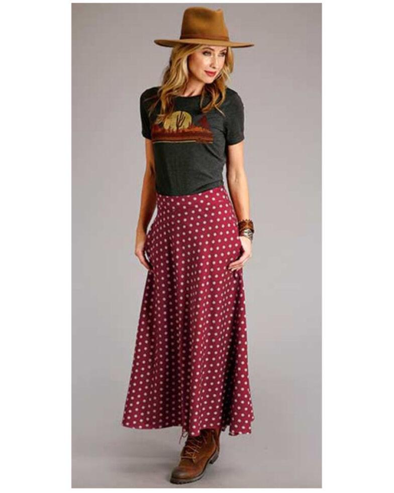 Stetson Women's Wine Aztec Ditzy Maxi Skirt, Wine, hi-res