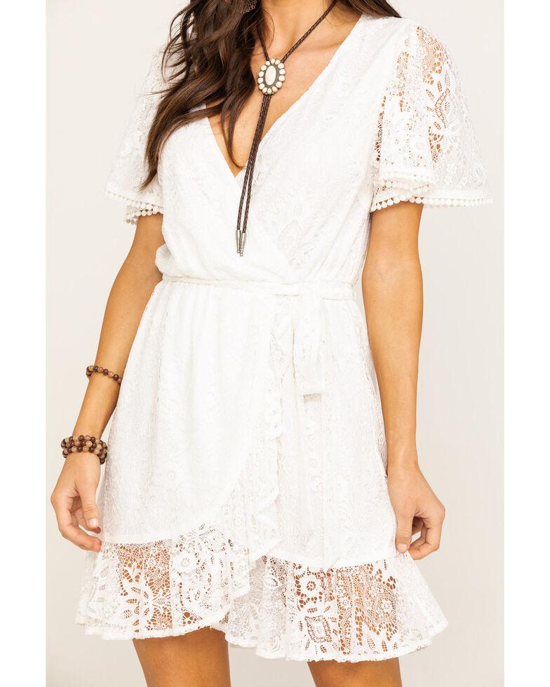 Flying Tomato Women's Ivory Lace Wrap Short Sleeve Dress, Ivory, hi-res