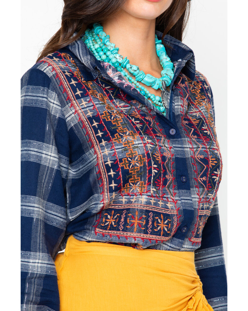 New Direction Women's Embroidered Plaid Long Sleeve Shirt , Blue, hi-res