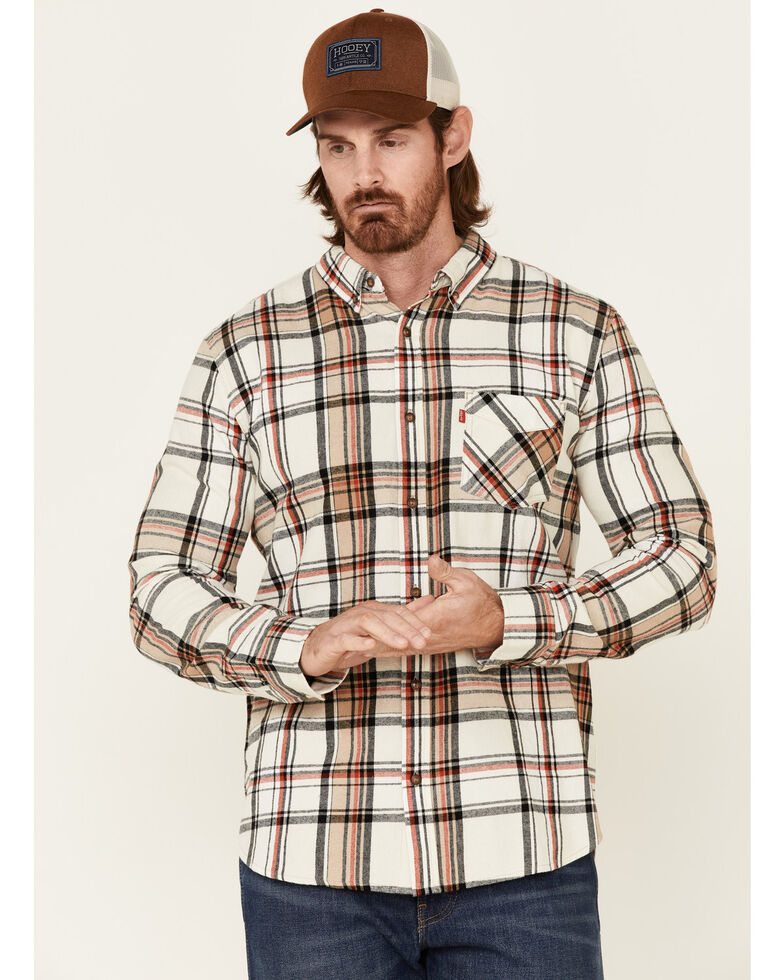 Levi's Men's Cream Saluda Plaid Long Sleeve Button-Down Western Flannel Shirt , Cream, hi-res