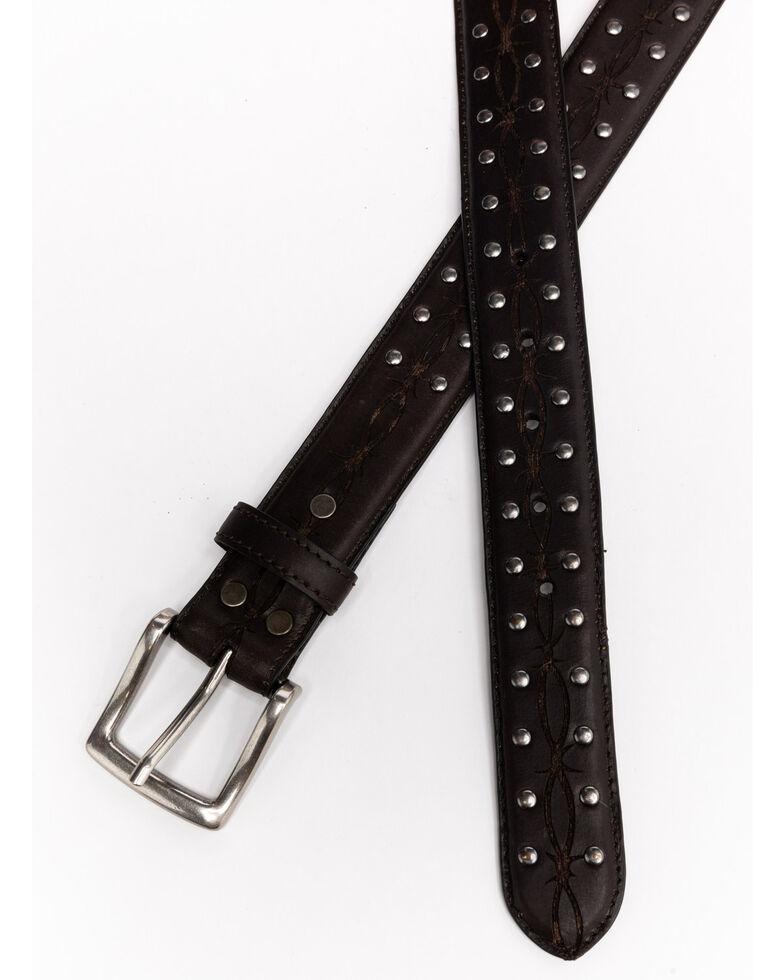 Moonshine Spirit Dark Brown Embroidered Barbed Wire Western Belt , Black, hi-res