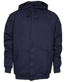 National Safety Apparel Men's Navy FR Heavyweight Zip Front Work Sweatshirt - Big , Navy, hi-res