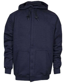 National Safety Apparel Men's 2X-3X Navy FR Heavyweight Zip Front Work Sweatshirt - Tall, Navy, hi-res