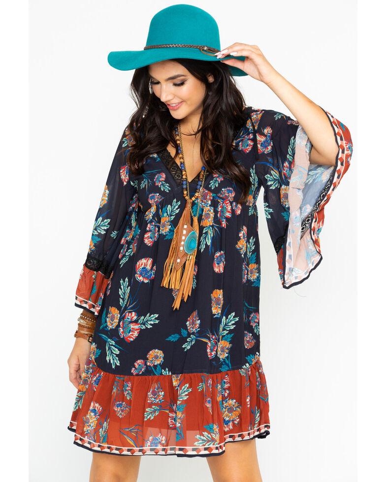 Flying Tomato Women's Floral Border Print Dress , Black, hi-res