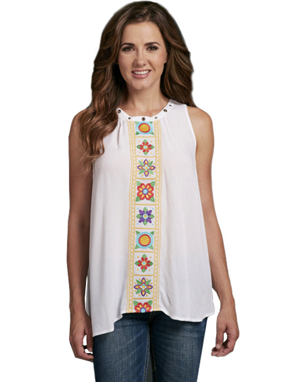 Cowgirl Up Women's Grommet Floral Embroidered Sleeveless Top, White, hi-res