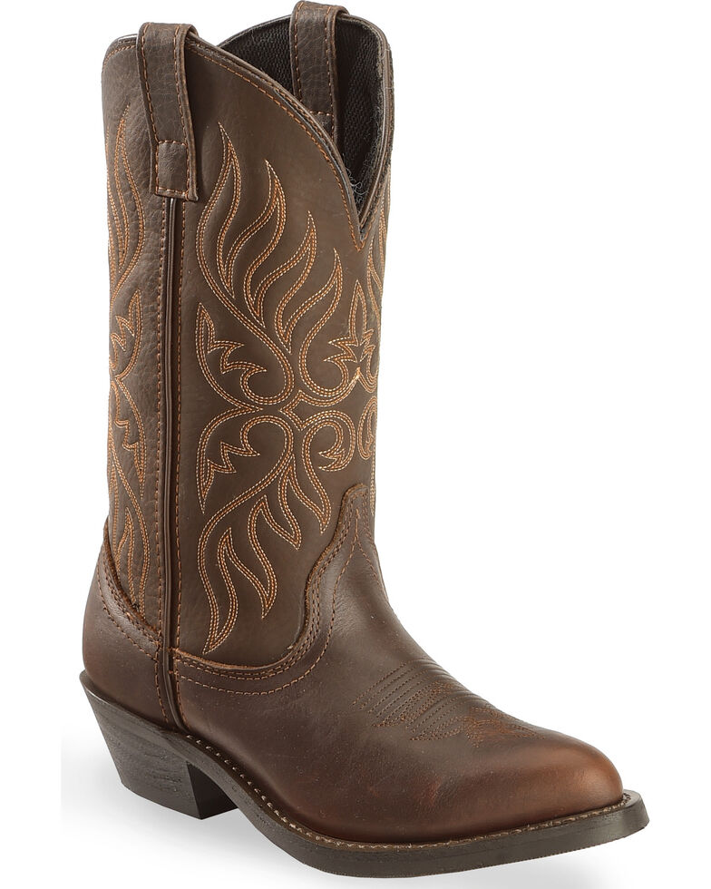 """Laredo Women's 11"""" Round Toe Cowgirl Western Boots, Chocolate, hi-res"""