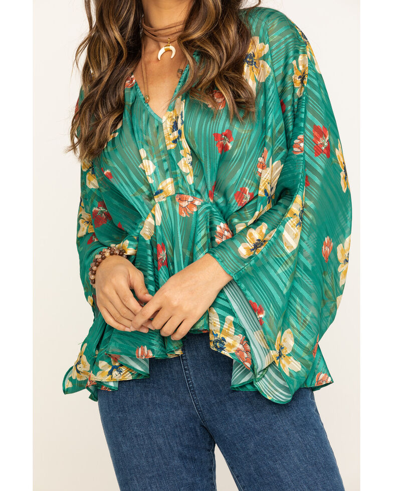 Flying Tomato Women's Floral Lurex Stripe Flutter Top, Green, hi-res