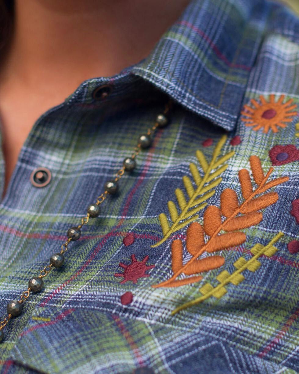 Ryan Michael Women's Blue Embroidered Heather Plaid Shirt , Purple, hi-res