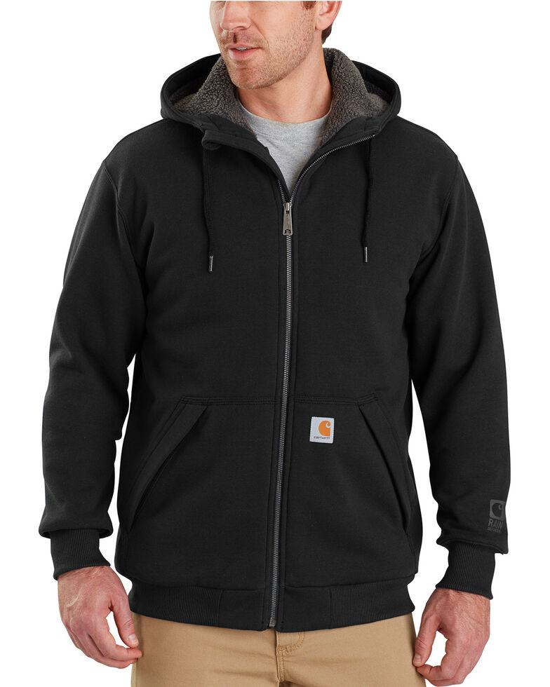 Carhartt Men's Rain Defender Rockland Sherpa-Lined Full-Zip Hooded Jacket , Black, hi-res
