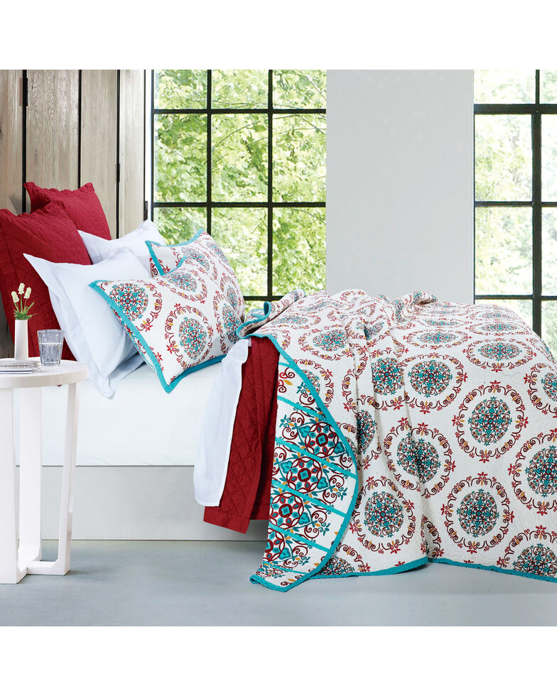 HiEnd Accents Multi Three Piece Sonora Quilt Set, Full/Queen, Multi, hi-res