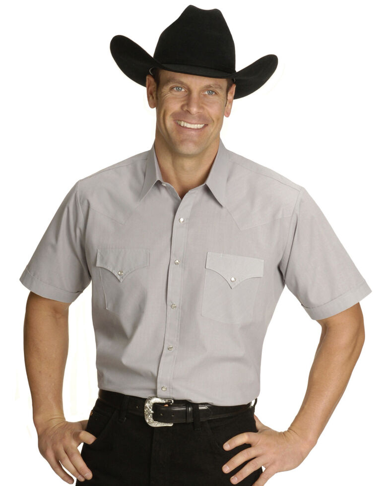 Ely Cattleman Men's Short Sleeve Solid Western Shirt - Big & Tall , Grey, hi-res