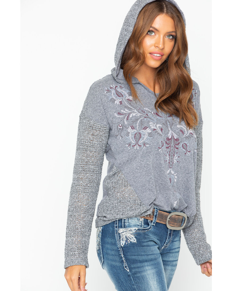 Miss Me Women's Embroidered Hooded Top, , hi-res