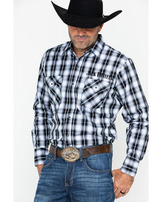 Jack Daniel's Men's Textured Plaid Embroidered Long Sleeve Western Shirt, Black/white, hi-res