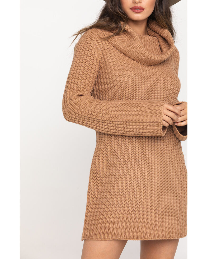 BB Dakota Women's Tan Couldn't Be Sweater Dress , Medium Brown, hi-res