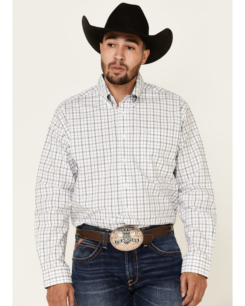 Cinch Men's White Large Plaid Long Sleeve Button-Down Western Shirt - Big , White, hi-res