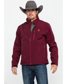 HOOey Men's Maroon Solid Softshell Zip Jacket , Burgundy, hi-res