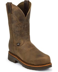 "Justin Men's J-Max 8"" Pull-On Work Boots, Crazyhorse, hi-res"